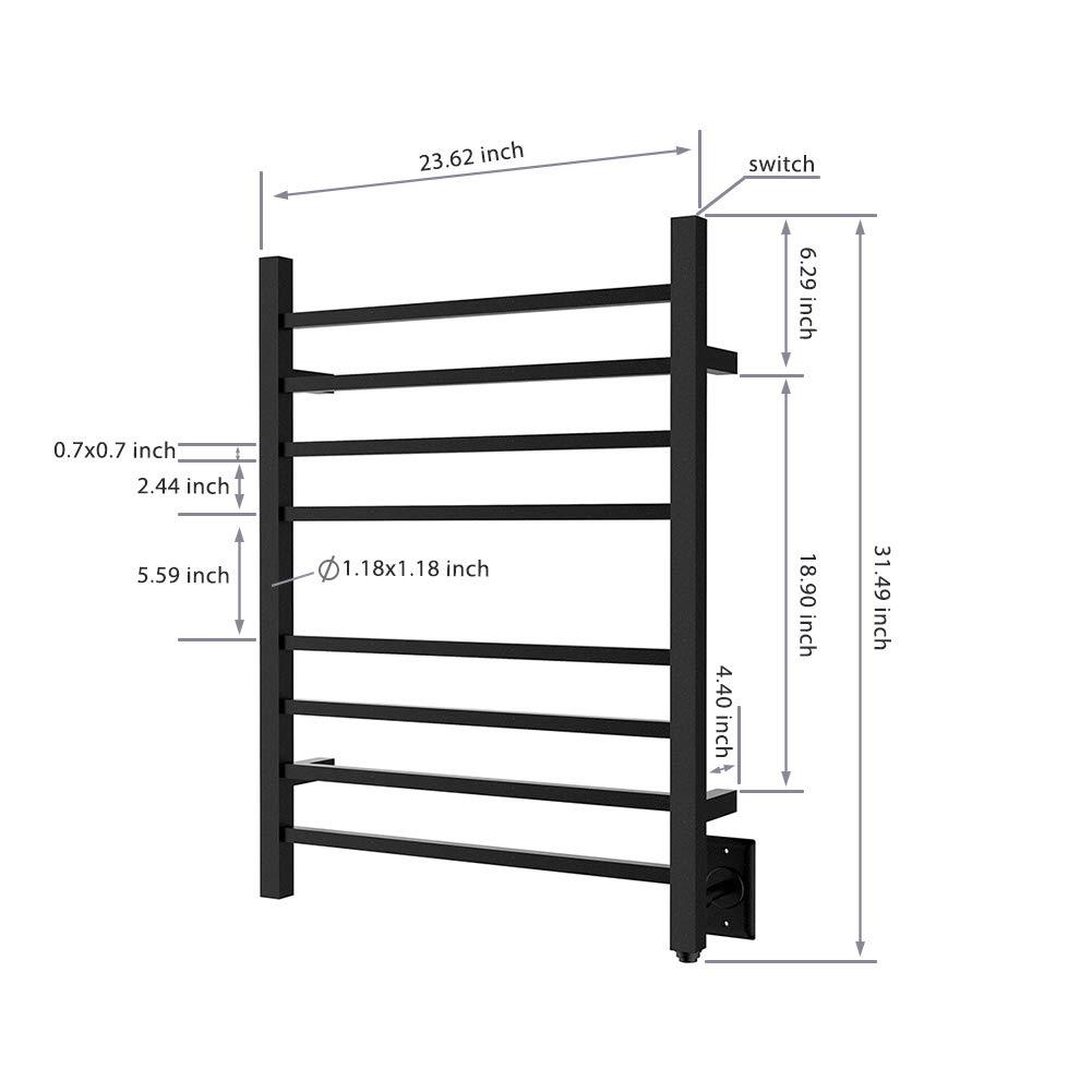 HEATGENE Hot Towel Warmer for Bath Heated Drying Rack 8 Square Bar Matte Black by HEATGENE (Image #7)