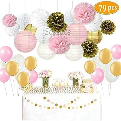 Amazon Com Sopeace 79 Pcs Decoration Kit Pink Gold Tissue Paper Pom