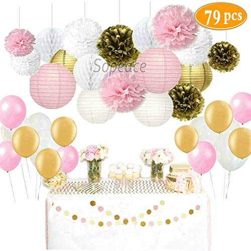 Sopeace 79 Pcs Decoration Kit Pink Gold Tissue Paper Pom Poms Flowers Papers Lanterns Circle Garland Latex Balloons Birthday Wedding Christening Frozen Theme Party Decorations for Adults Boys Girls