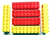 Lego Duplo - 6 Loose RARE Bricks 2x8 (3 Yellow and 3 Red)