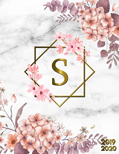 2019-2020: Nifty Academic Planner Monogram Initial Letter S Weekly Monthly Student Organizer, Calendar & Agenda with Inspirational Quotes, To-Do's, ... & More   Grey Marble & Gold Pink Floral Print ()