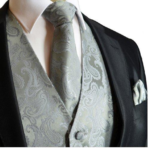 Brand Q Wedding Vest Set Gray Paisley 3pcs Tuxedo Vest + Necktie + Handkerchief XS