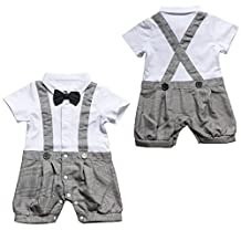 Lestore Baby Boys' Bowtie Gentleman Overall Plaid Romper Summer Outfit