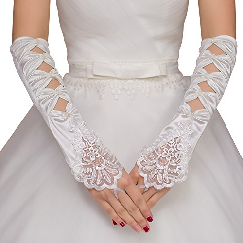 JoyVany Pearl Satin Long Fingerless Bridal Gloves Lace Applique Wedding Gloves