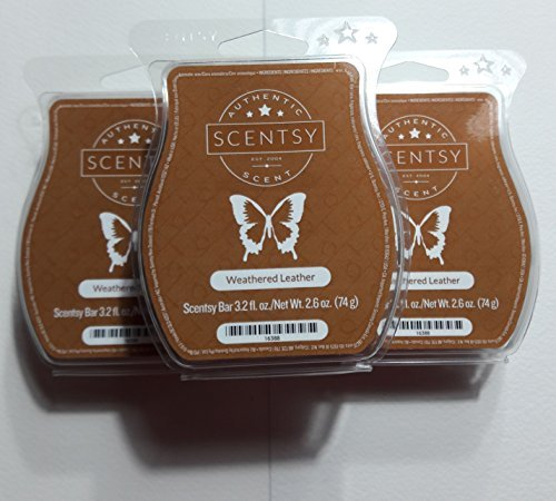 Weathered Leather Scentsy Wickless Candle Tart Bar 3 Pack