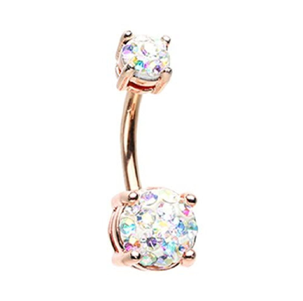 Sold by Piece Rose Gold Sprinkle Dot Multi Gem Gold Plated Steel Freedom Fashion Belly Button Ring