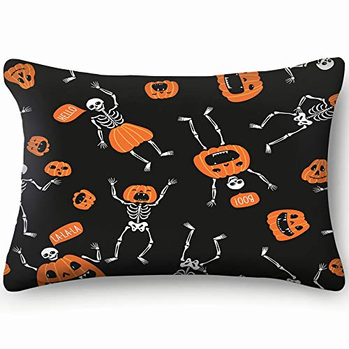 best bags Funny Skeletons Pumpkins Design Halloween Holidays Skin Cool Super Soft and Luxury Pillow Cases Covers Sofa Bed Throw Pillow Cover with Envelope Closure 1624 Inch]()