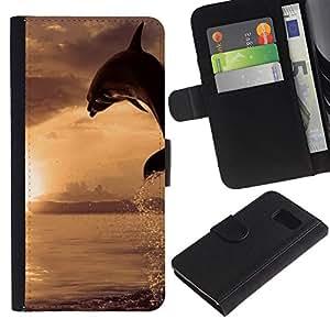 JackGot ( Dolpin Wave ) Sony Xperia Z3 Compact / Z3 Mini (Not Z3) la tarjeta de Crédito Slots PU Funda de cuero Monedero caso cubierta de piel