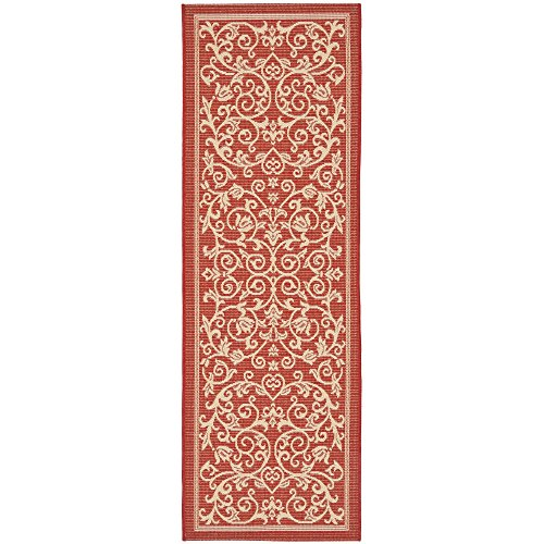 (Safavieh Courtyard Collection CY2098-3707 Red and Natural Indoor/ Outdoor Runner (2'3