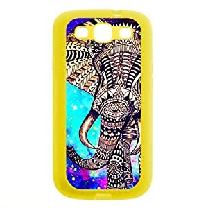 Aztec Vintage Elephant Protective Yellow Rubber Colorful Cover Case for SamSung Galaxy S3