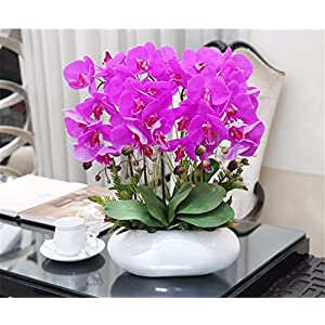 SituMi Artificial Fake Flowers Silk Flower Home Wedding Bouquets Decoration Potted Plants,Pink Orchids White Glass Vase A 15