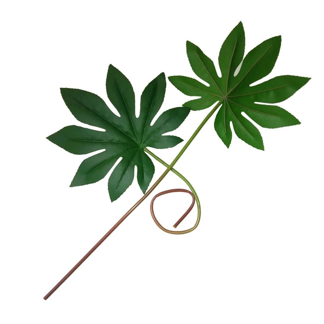 Lorigun 3Pcs Artificial Plant for Home Decoration Fake Leaves of Unique Plant Fatsia 9.3 Inches Large Fake Leaf with Long Flexible Stem Green Plants for Home Office Decor