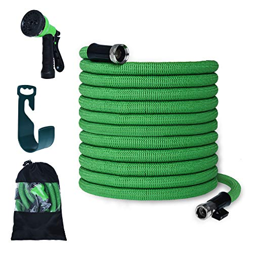 PanShield Expandable Garden Hose Set with Bag& Nozzle& Hanger Lightweight and Kink Free Flexible Water Hose with 8 Function Spray Nozzle (50, Green)