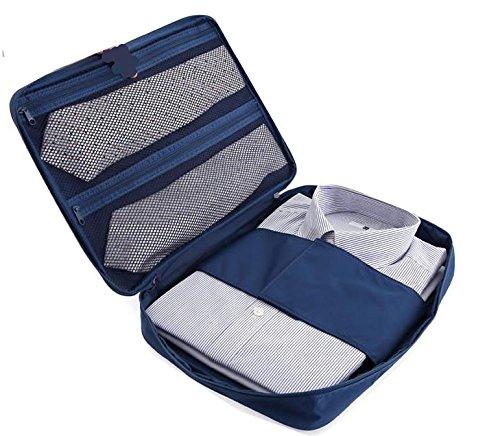 Guide Pro Bag - Shirt and Tie Packing Bag Organiser. Waterproof Wrinkle Free Garment Storage Case. (Navy Blue)