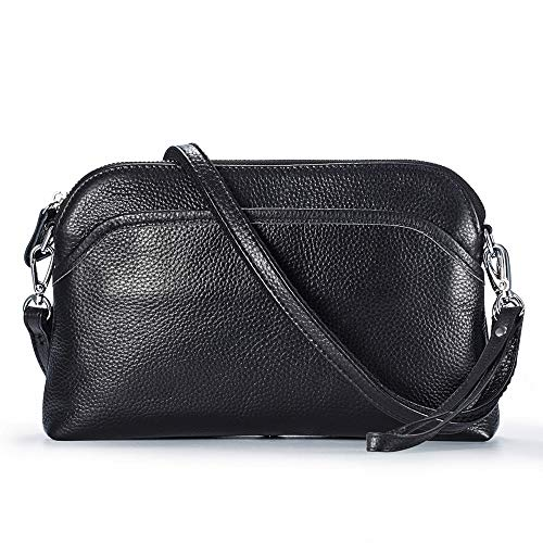 (Lecxci Small Women's Soft Vintage Leather Crossbody Travel Smartphone Bag Wristlets Clutch Wallet Purse (leather with lichee pattern,Black))