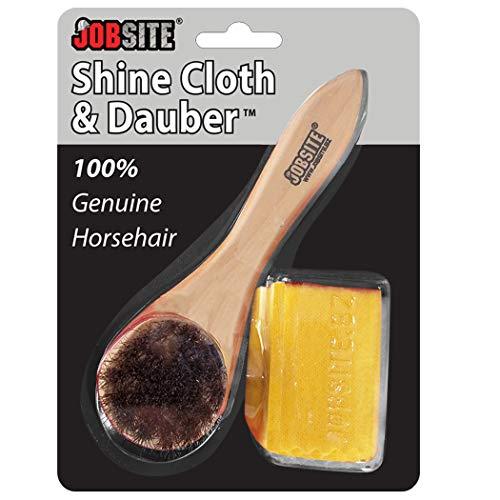 JobSite Genuine Horsehair Dauber Applicator Brush & Shoe Shine Polish Cloth - Great for Travel & Home from Jobsite