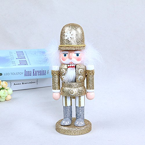 gelvs 25 cm Handmade Wood Nutcracker Xmas Evening Party Ceremony Decorative Figure 1 Set of 3 Style 1 Swordman 1 Soldier in Gold Outfit 1 with White Outfit by gelvs (Image #3)
