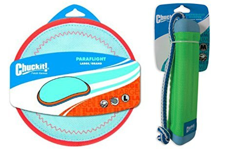ChuckIt! Water Exercise Toy Bundle for Dogs with ChuckIt! Medium Amphibious Bumper Floating Fetch Toy and ChuckIt! Large Paraflight Toy by Chuck It
