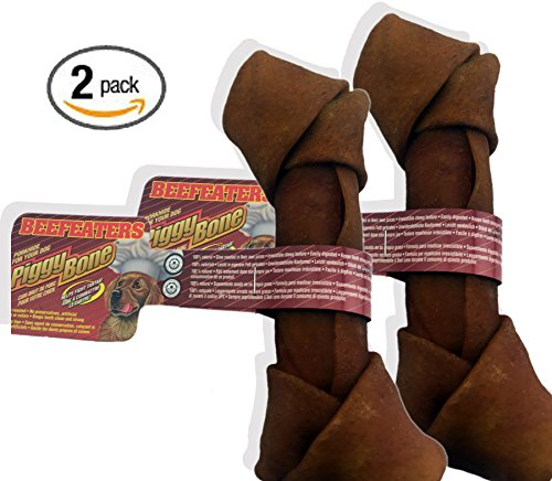 Pack of Two (2) Beefeater 7-8 inch Piggy Pork Knotted Bulk Rawhide Bone Natural Cuisine Rawhide Rolled Knot Bone Dog Treat Bone Chew for Medium to Large Dogs