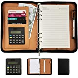 CLighting Premium PU Leather Business Portfolio Organizer Notebook Zippered Office A5 Notepads with removable Calculator Pen Money Card Passport Holder(Black)