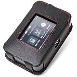 PDAIR レザーケース for Wi-Fi STATION HW-01H スリーブタイプ(ブラック/レッドステッチ) PALCHW01HS/BL/RD