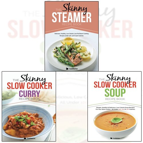 Price comparison product image Skinny Slow Cooker Curry Recipe Book Collection 3 Books Set By CookNation With Gift Journal (The Skinny Steamer Recipe Book)