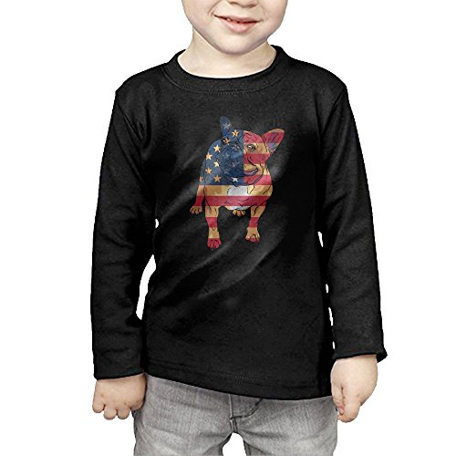 French Bulldog USA Flag Kids Children Unisex Long Sleeve Cotton Crew Neck T-Shirt Tee