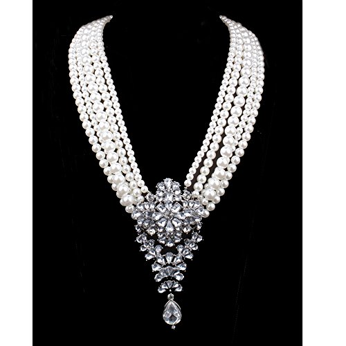 Zthread Big Drop Simulated Pearl Statement Necklace Crystal Long Chain Collar Necklace