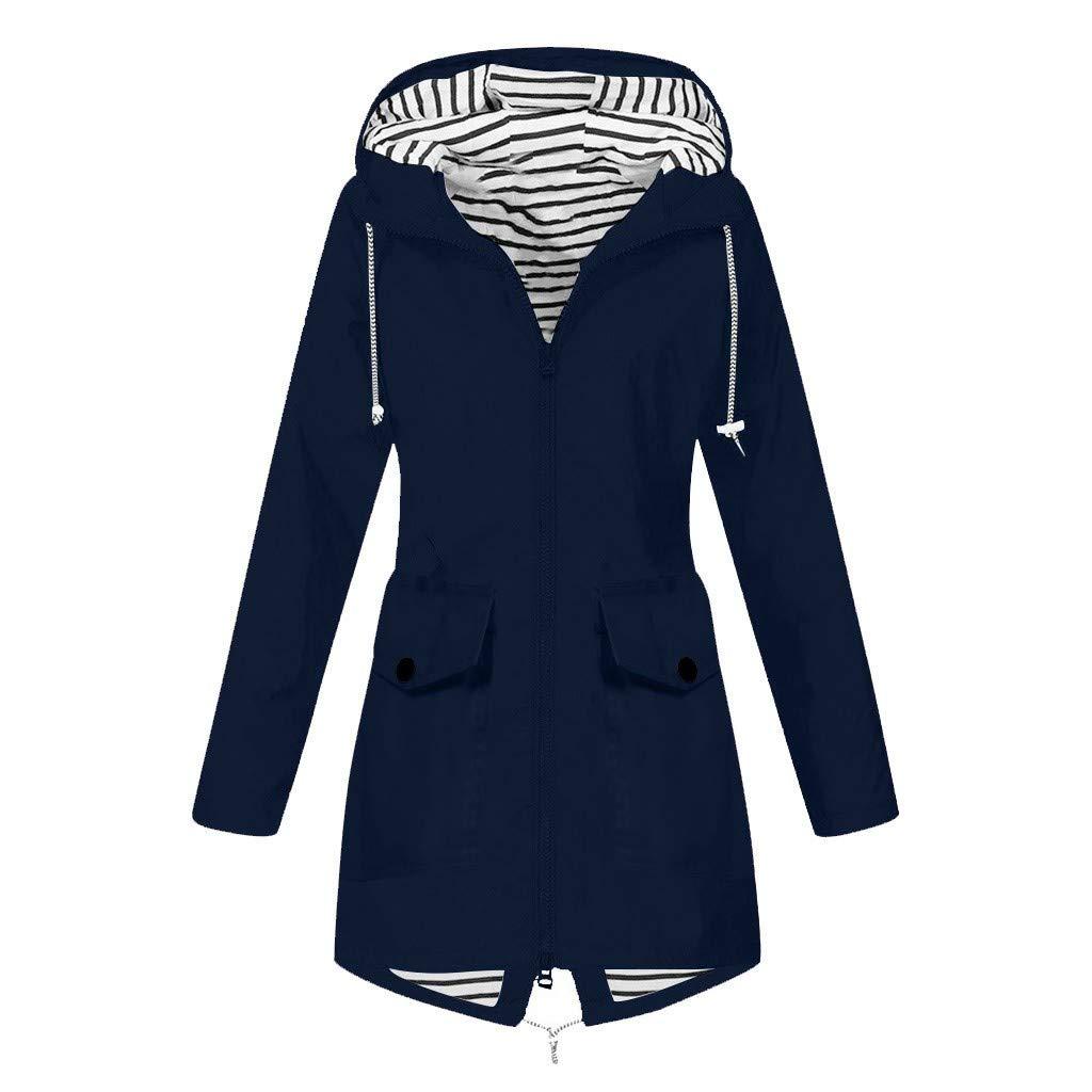 BITOPYTOPSIY Womens Raincoats Waterproof Hooded Trench Coat Lightweight Waterproof Windbreaker Jacket