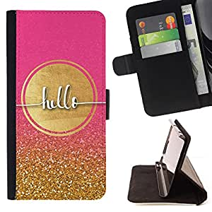 For Motorola Moto E 2nd Generation Gold Pink Bling Girly Sun Glitter Style PU Leather Case Wallet Flip Stand Flap Closure Cover