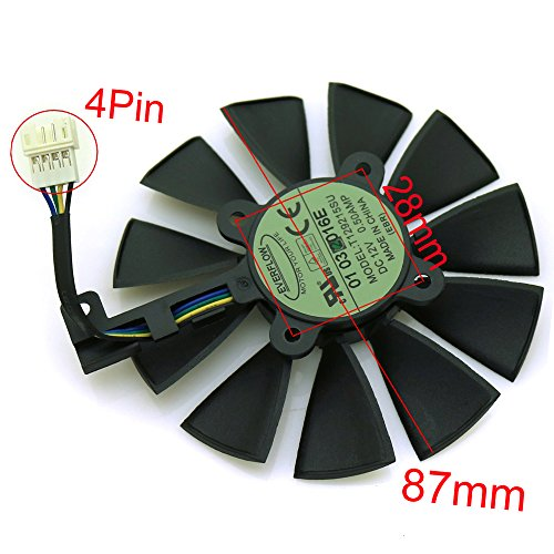 Tebuyus T129215SU 12V 0.5A 87mm 4 Pin Graphics Card Cooling Fan For GTX980Ti GTX 1070 GTX 1080 RX 480 RX390 Replacement Video Card Cooling Fan by Tebuyus (Image #2)