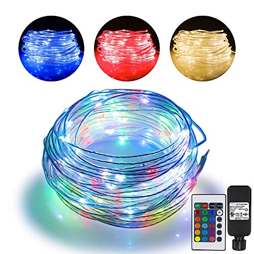 66ft Led Rope Lights Outdoor String Lights with 200 LEDs,16 Colors Changing Waterproof Starry Fairy Lights Plug in for Bedroom,Indoor,Patio,Home Decor]()