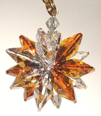Small Austrian Crystal - Clear and Amber Small Suncluster with Austrian Crystal