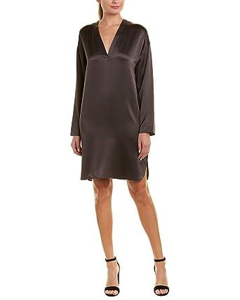 : Vince Womens Satin Silk Tunic Dress, L, Grey