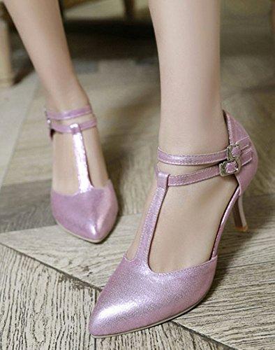 Aisun Dames Trendy Puntige Neus Dubbele Gespen T Enkelband Stiletto Kitten Hakken Dorsay Pumps Schoenen Roze