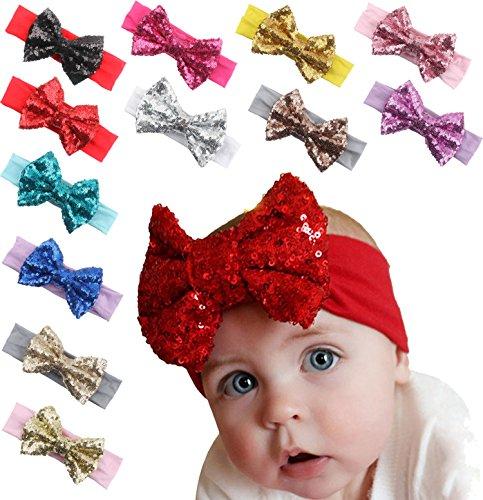 Queengirls Baby Elastic Cotton Headbands with Big Bows(12 (Sequin Bow Headband)