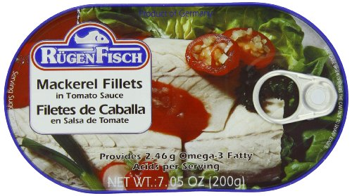 RügenFisch Mackerel Fillets in Tomato Sauce, 7.05 Ounce