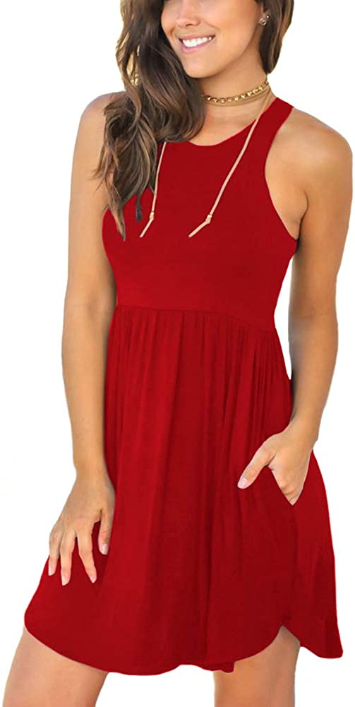 LONGYUAN Womens Summer Casual T Shirt Sundress Swimsuit Cover Ups with Pockets
