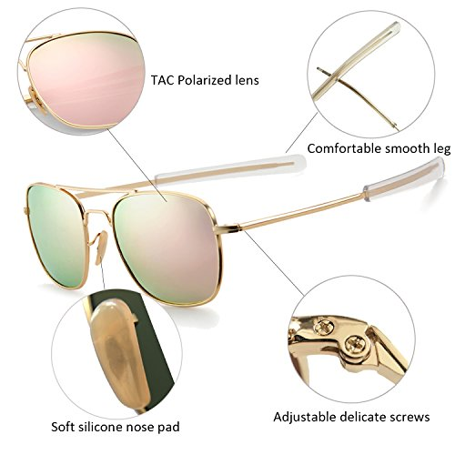 c950cd8e46 ... YuFalling Retro Polarized Aviator Sunglasses for Men and Women Gold  Frame Pink Lens ...