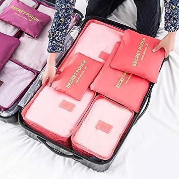 827790e573c8 Amazon.com : Saasiiyo 6Pcs/set Solid Color Packing Cube Travel Bag ...