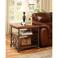 This Scrolled Metal and Wood End Table will look great with any couch. This end table could be use to enhance your house. You could use this as a coffee table for your drinks and treats. Great addition to your living room furniture. Classical Look