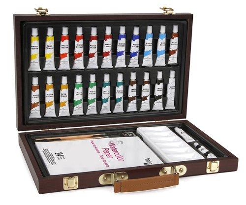 Darice 1103-084 Studio 71, 34 Piece Watercolor Painting Set, Wood Box Art Set