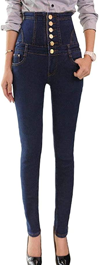 Pantalones De Mezclilla De De Pantalon Invierno Mujer Jeggings Modernas Casual Pantalones De Cintura Alta Pantalones Vaqueros Delgados Pantalones De Lapiz De Un Solo Pecho Delantero Amazon Es Ropa Y Accesorios