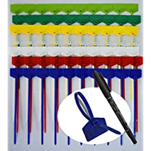 """Onirii 70 PCS 4 Inch Marker Nylon Cable Ties Write on Ethernet, Colorful Wire Zip Ties Cable Mark Tags Nylon Power Marking Label - Assorted Colors 7"""""""