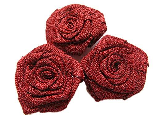 YYCRAFT 12pcs Burlap Roses Fabric Flowers Headbands Hair Accessory DIY Crafts/Wedding Party Decoration/Scrapbooking Embellishments(2.25