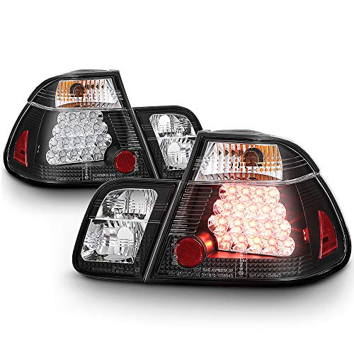 ACANII - For 2002-2005 BMW E46 3-Series 4-Door Sedan Black Lumileds LED Tail Lights Brake Lamps Driver & Passenger