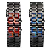 WPOS® Men/Woman Lava Black Stainless Steel Lava RED LED Digital Bracelet Watch, Model: , Electronics & Accessories Store