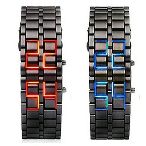 WPOS® Men/Woman Lava Black Stainless Steel Lava RED LED Digital Bracelet Watch, Model: , Electronics & Accessories Store by Gadgets World