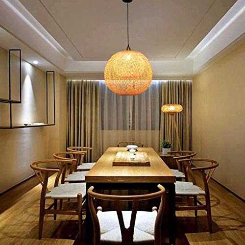 FHW Natural Bamboo Chandelier Ceiling Pendant Lighting Wicker DIY Rattan Lamp Shades,Weave Hanging Light Living Room Decoration Light chandelier