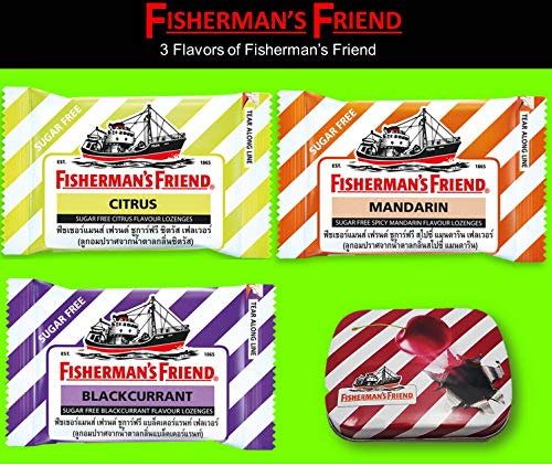 Fisherman's Friend Lozenges Trio Set (Citrus and Spicy Mandarin and Backcurrant Flavors with 1 Collectibles Tin Boxes) Fresh Breath and Extra Strong Cough Suppressant Lozenges